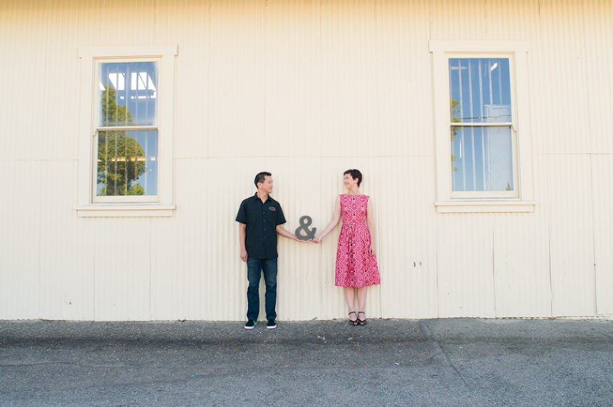 Orange County Engagement Photo of Couple with Ampersand