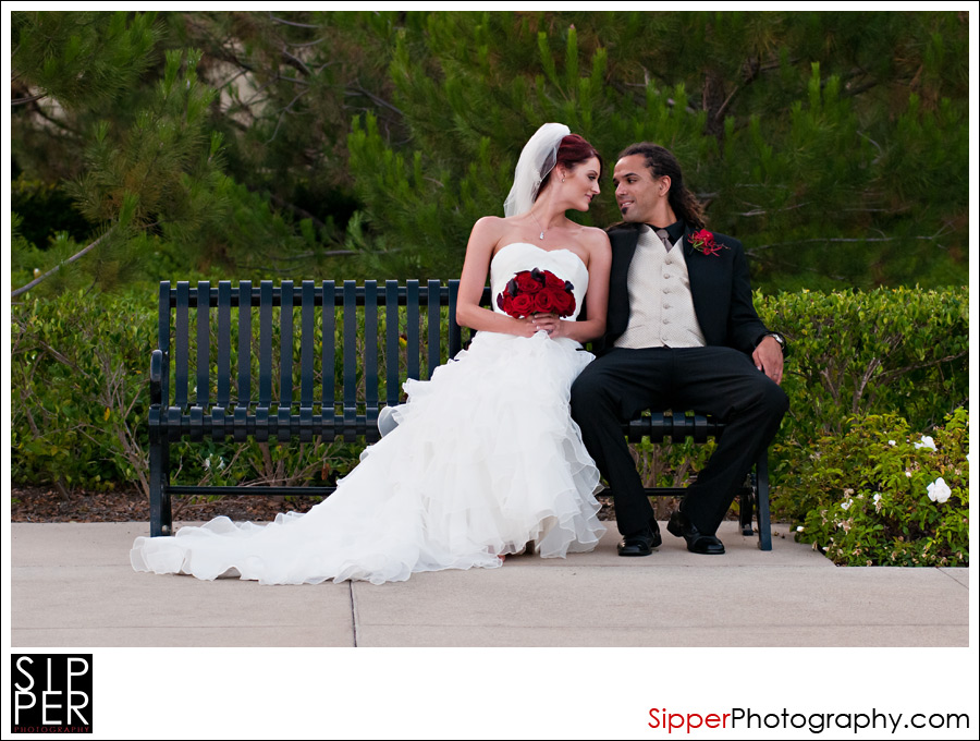 Bride and Groom sitting on a bench, Irvine CA