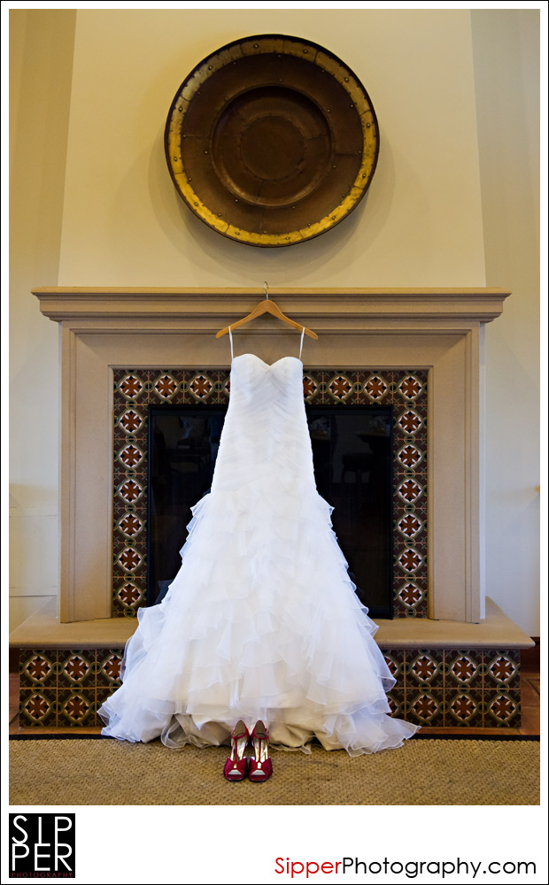 Wedding dress in Woodbury Clubhouse, Irvine, CA