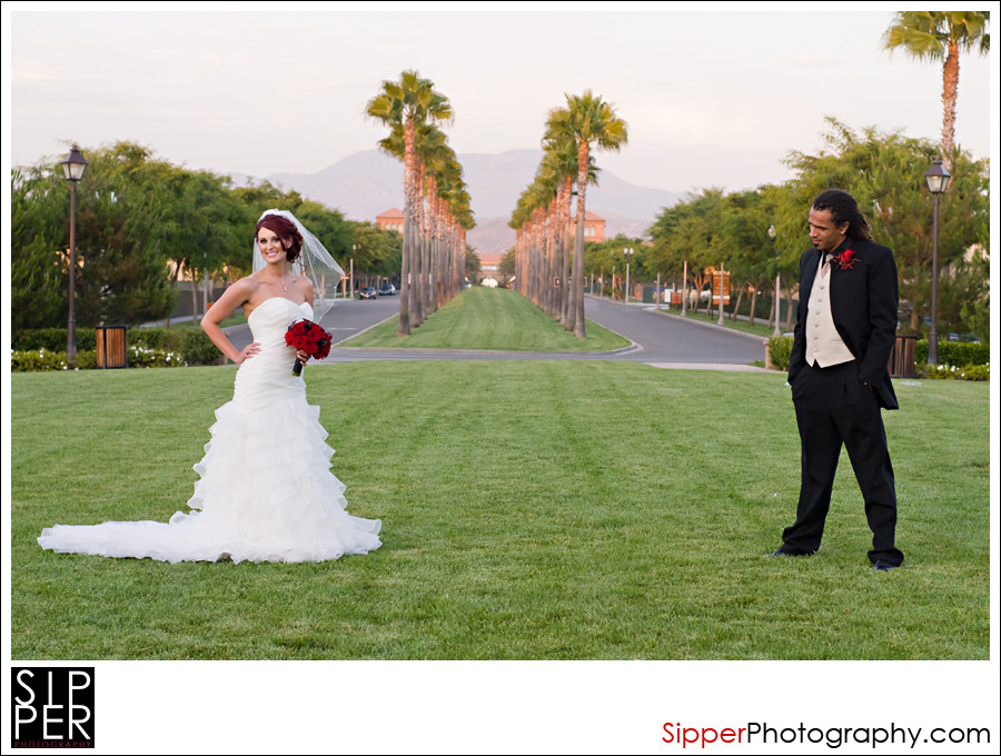 Groom checking out his bride in Irvine, CA