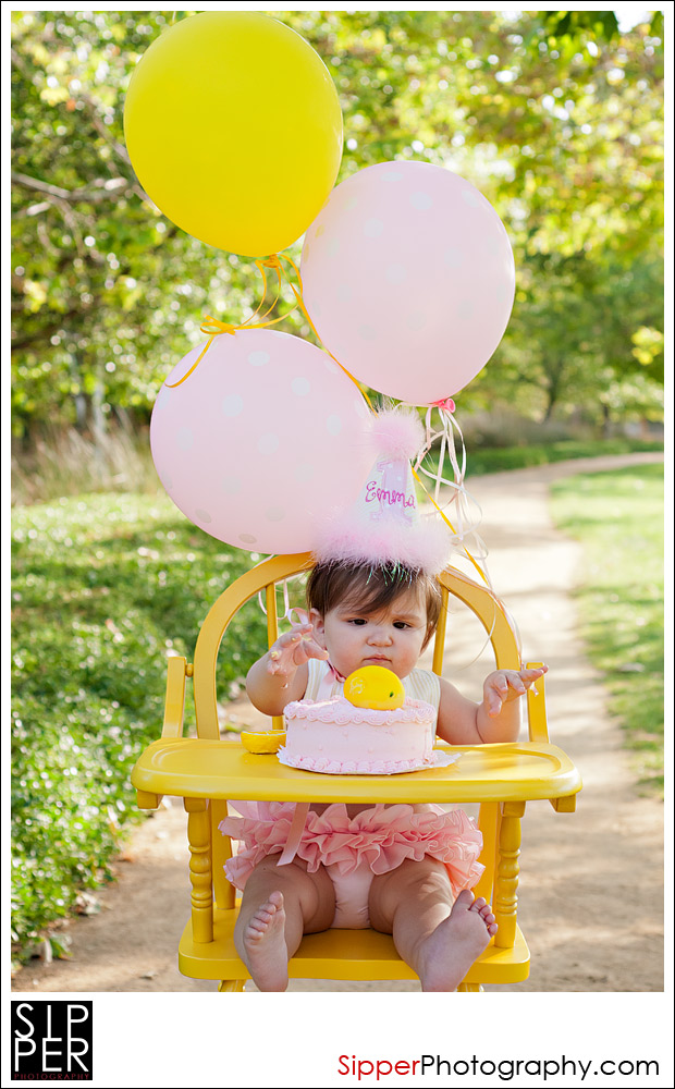 First Birthday Cake Smash in Yellow Highchair