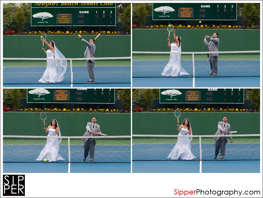 Bride and Groom Play Tennis