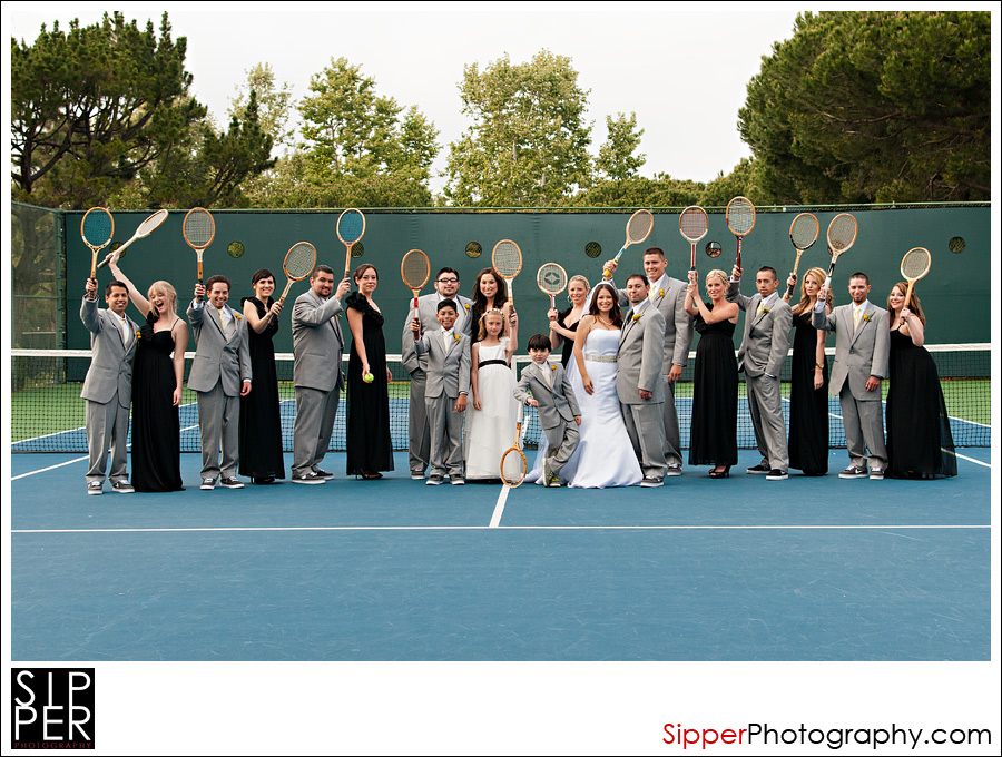 Wedding Party Shot on the Tennis Courts