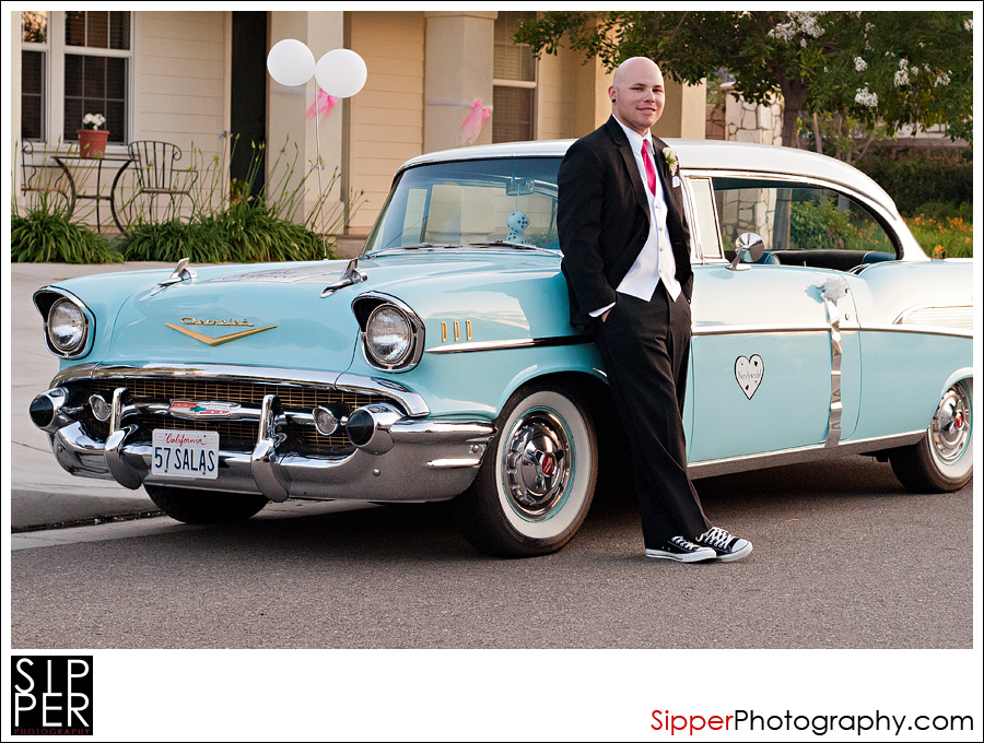 Groom with 57 Chevy
