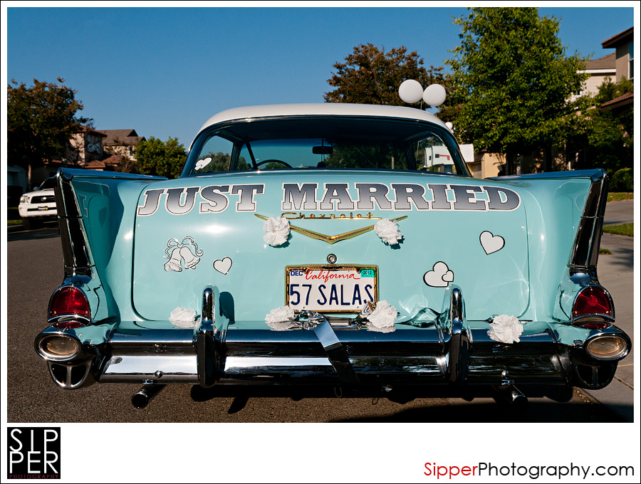 Just Married 57 Chevy Wedding Car
