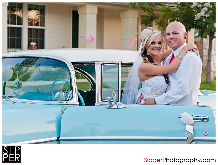 Wedding Couple Portrait with 57 Chevy