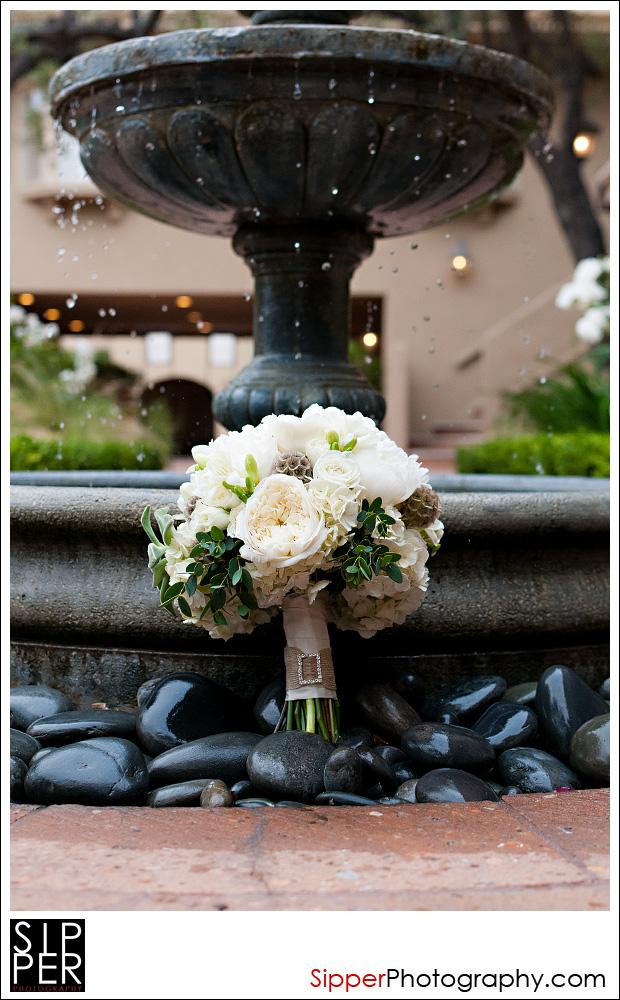 Pixie's Petals bridal bouquet by fountain