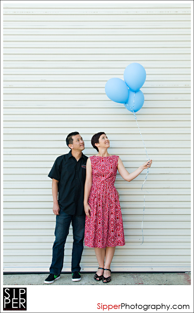 Couple with Balloons for Engagement Photo
