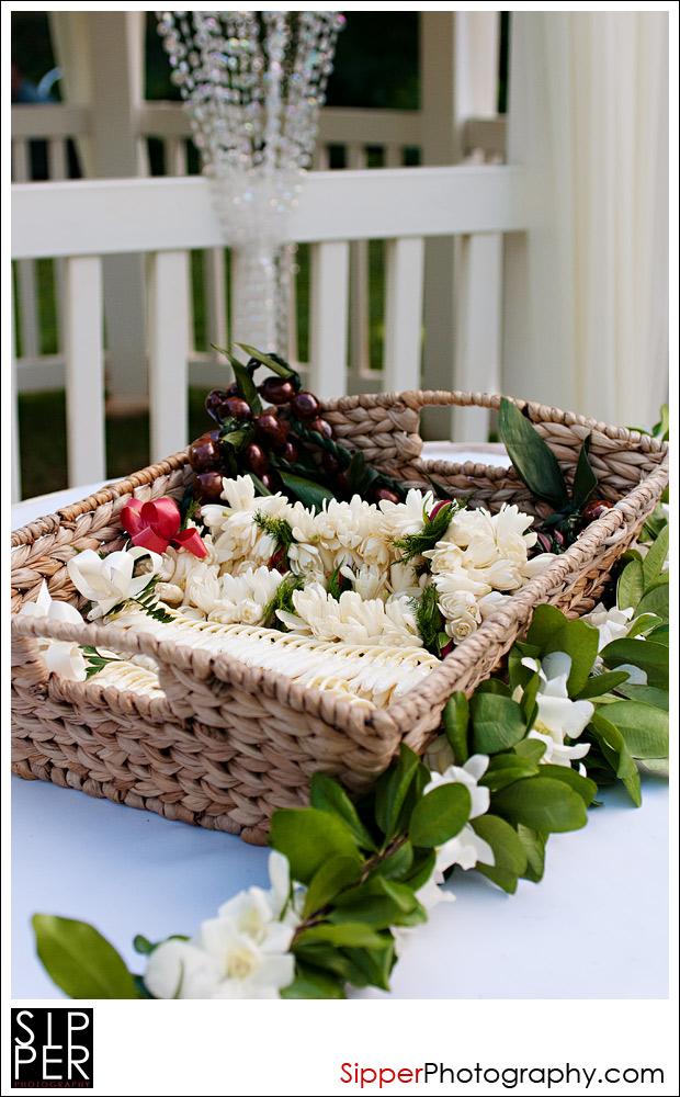 Lei Basket at Wedding Ceremony