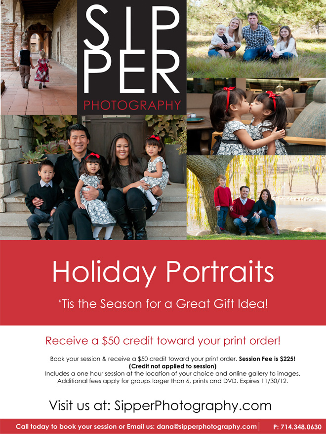Holiday Portrait Offer for Orange County Family Photographer