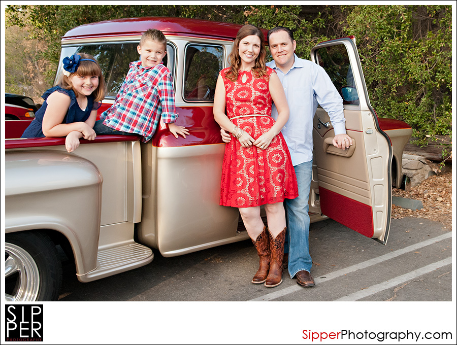 Vintage truck family portrait in Orange County, CA