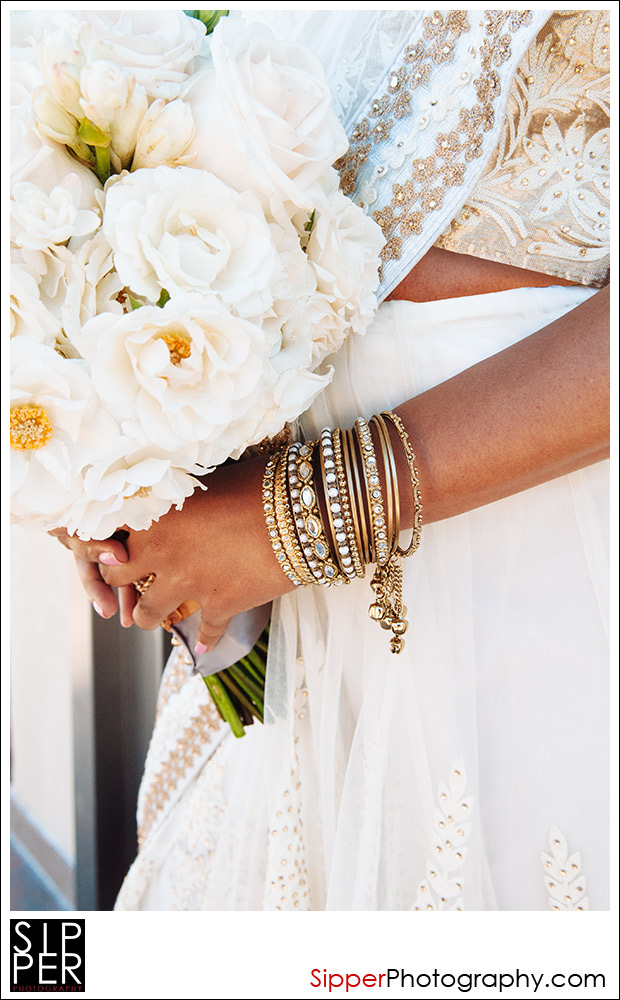 Indian Bridal Bangle Jewelry with Wedding Bouquet
