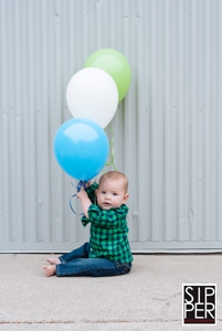 First Birthday Portrait with Balloons