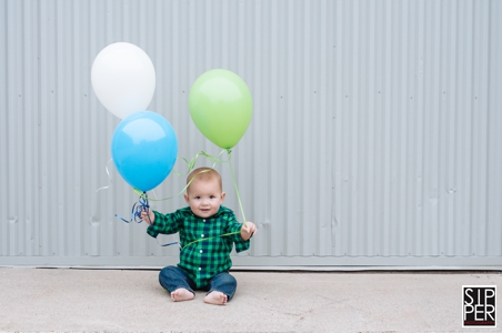 Orange County First Birthday Portrait with Balloons