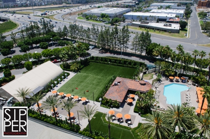 Aerial Shot of The Pavilion, The Backyard and Pool at Hotel Irvine