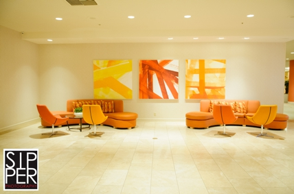 Orange Decor at the Hotel Irvine Lobby