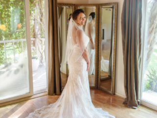 Bridal Portrait by the mirror in the Bridal Room at The Red Horse Barn