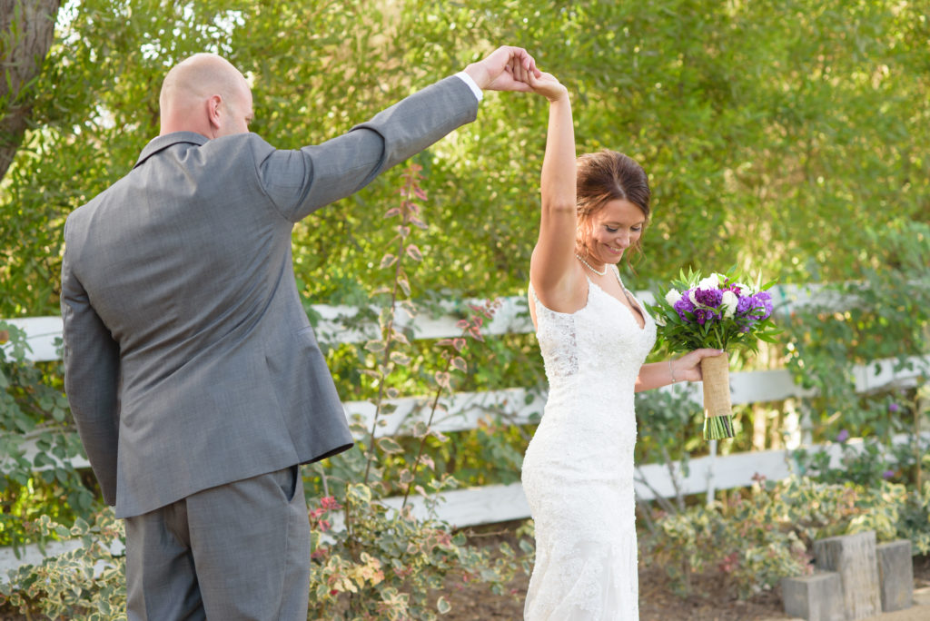 First Look Moment at The Red Horse Barn Outdoor Wedding Venue