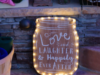 Love and Laughter and Happily Ever After Wedding Sign at Red Horse BArn