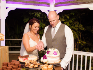 Night Time Wedding Cake Cutting at Reception The Red Horse Barn