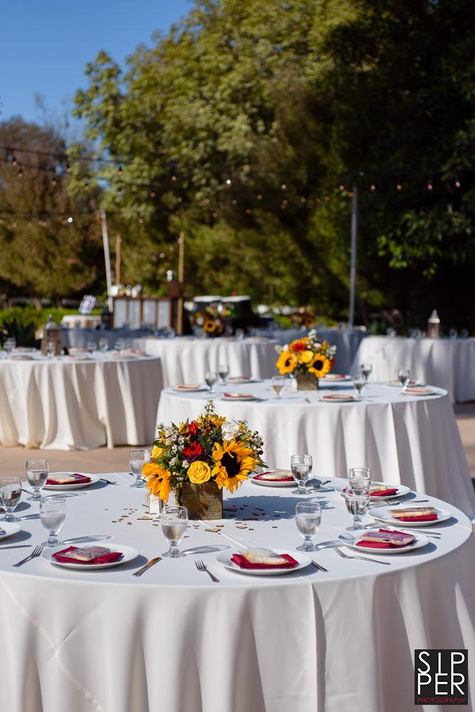 This beautiful tablescape at the Red Hose Barn in Huntington Beach, California is just some of the work the great people at All Inclusive Events can do for you on your wedding day.