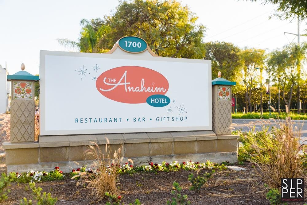 This is a photo of the sign of the Anaheim Hotel in Anaheim, California. Located across from Disneyland and a fabulous place to have your photos taken while on vacation.